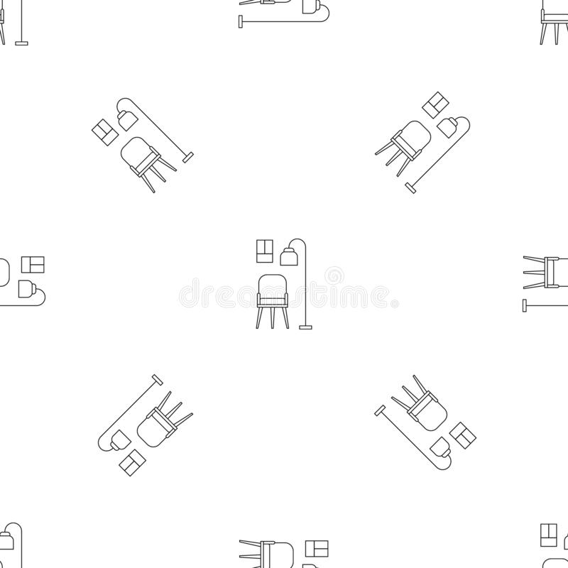 Krzesła i pokój lampy wzoru bezszwowy wektor ilustracja wektor