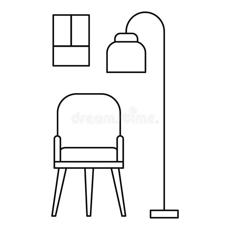 Krzesła i pokoju lampowa ikona, konturu styl royalty ilustracja