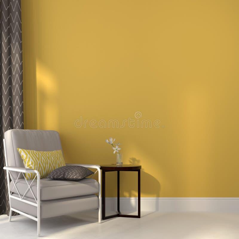 Krzesła i stół na żółtym tle ilustracji