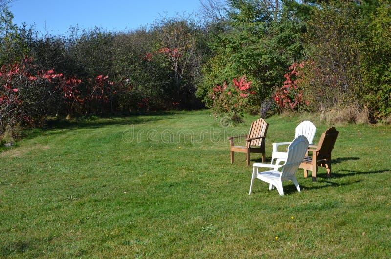 Krzesła jeziorem otaczającym drzewami zdjęcia stock
