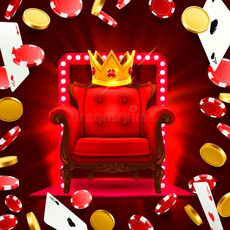 Krzesła królewiątka kasyno Latać spada grzebak karty ilustracja wektor