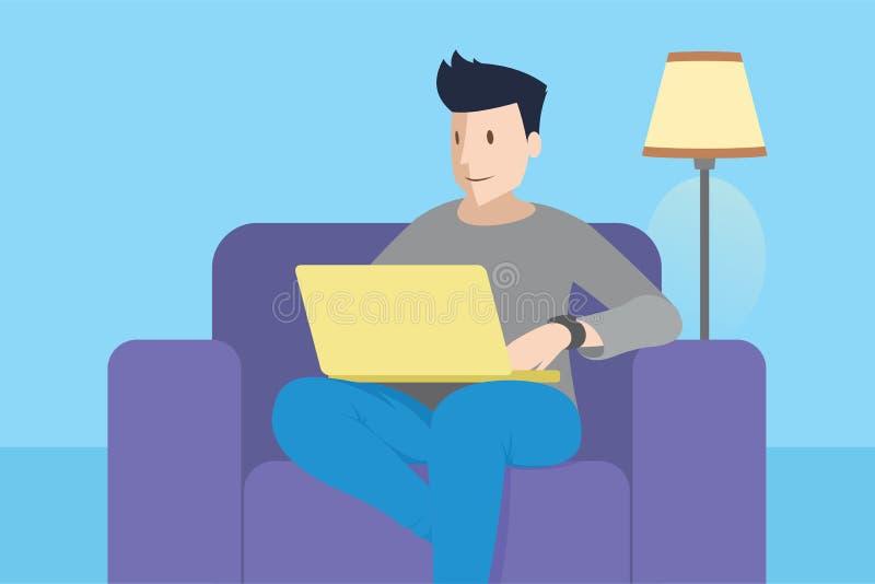 krzesła laptopu mężczyzna obsiadanie ilustracja wektor