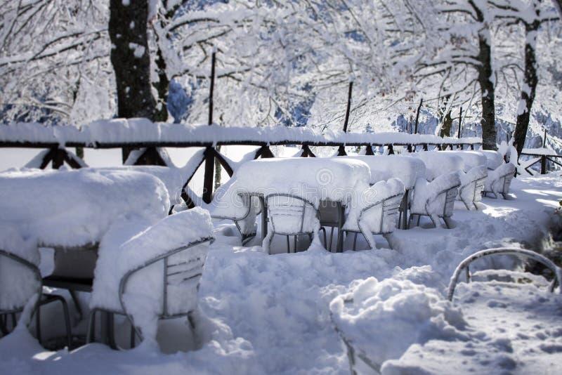 Krzesła podczas zimy zakrywającej w śniegu obraz royalty free