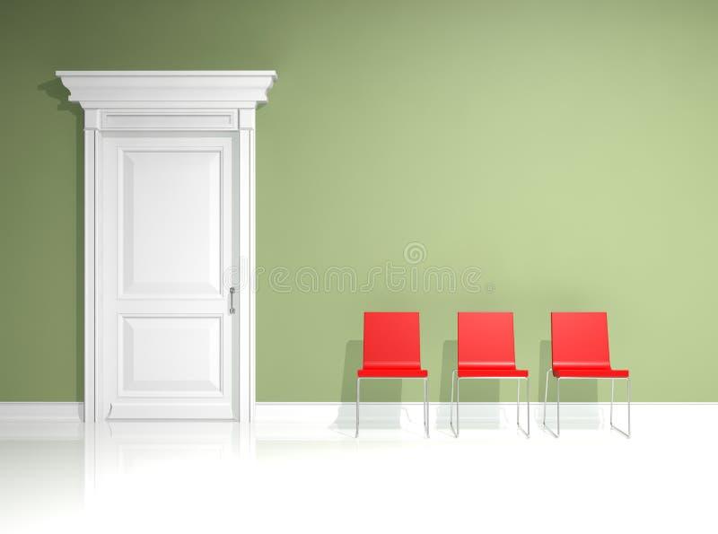 krzesła projekta wnętrza czerwień ilustracja wektor