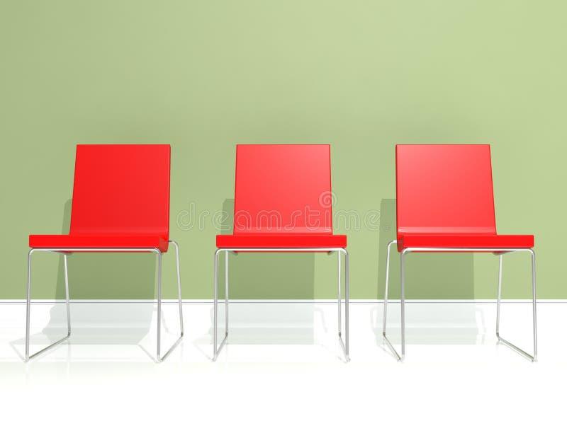 krzesła projekta wnętrza czerwień ilustracji