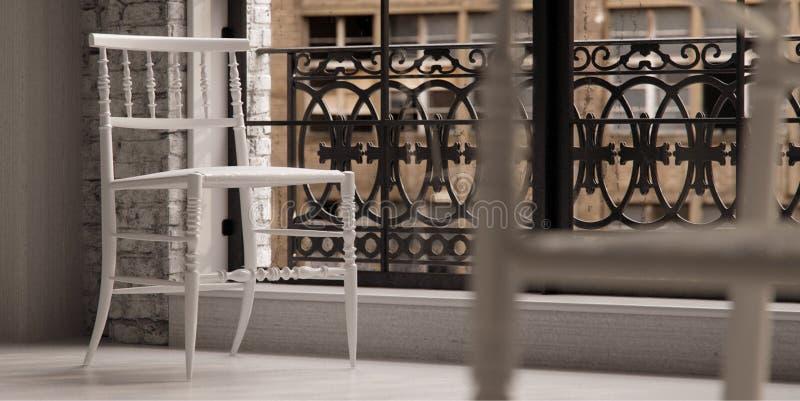 krzesła projektanta loft biel ilustracji