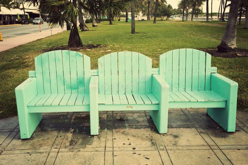 Krzesła w Miami plaży fotografia stock
