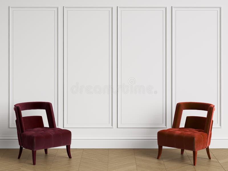 Krzesła w różnych czerwonych kolorach w klasycznym wnętrzu z kopii przestrzenią ilustracja wektor