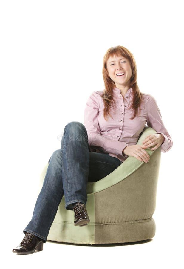 krzesło dziewczyny zieleń szczęśliwa obrazy royalty free