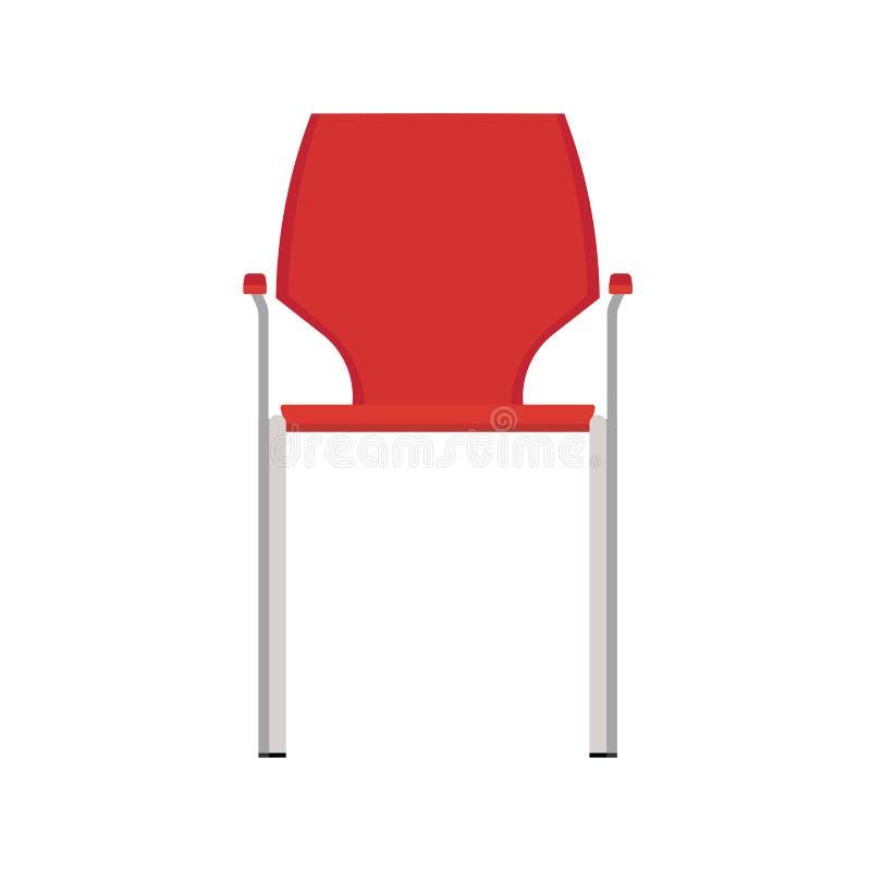 Krzesło frontowego widoku ikony restauracyjna wektorowa ilustracja Projekta płaskiego baru wnętrza meblarski element Bufet sylwet ilustracja wektor
