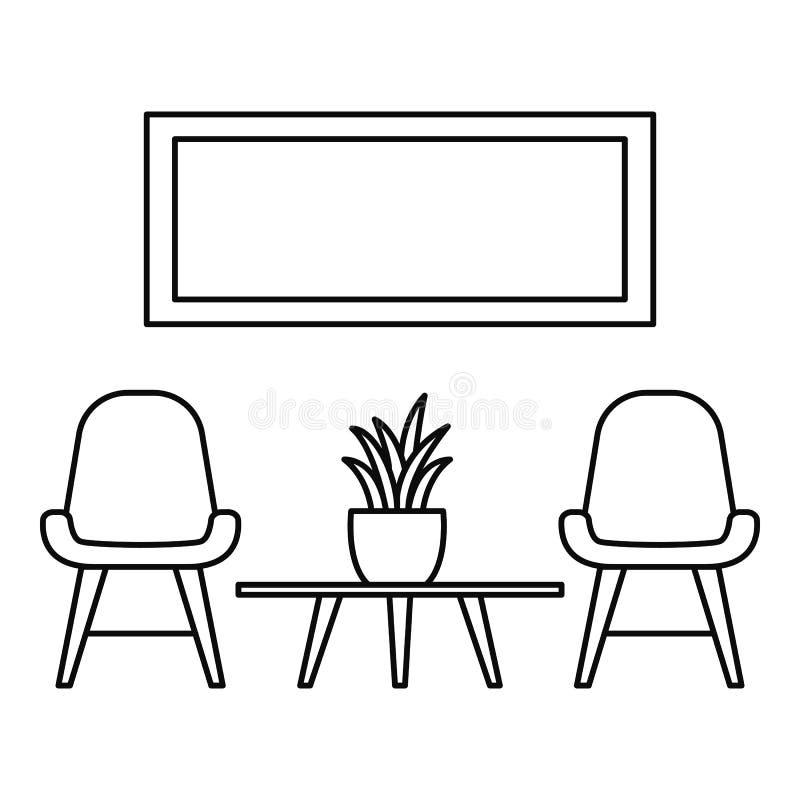 Krzesło i izbowa rośliny ikona, konturu styl ilustracji