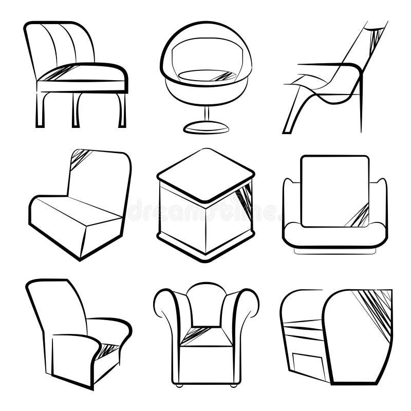 Krzesło kolekcja ilustracja wektor