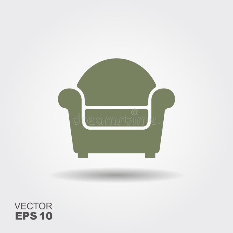 Krzesło Płaska wektorowa ikona royalty ilustracja