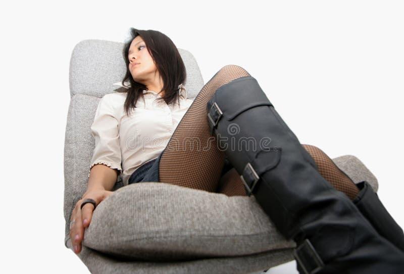 krzesło po japońsku kobieta fotografia stock