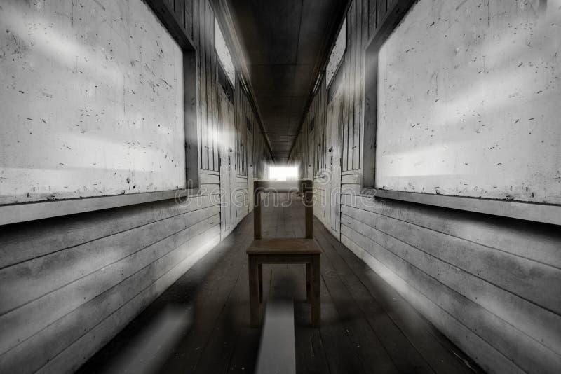 Krzesło podróżuje gdzieś jaskrawy światło po środku Tajlandzkiego rocznik szkoły korytarza chociaż czas zdjęcie royalty free
