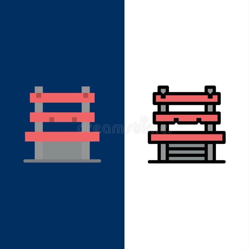 Krzesło, pokój, stacja, Czeka ikony Mieszkanie i linia Wypełniający ikony Ustalony Wektorowy Błękitny tło royalty ilustracja
