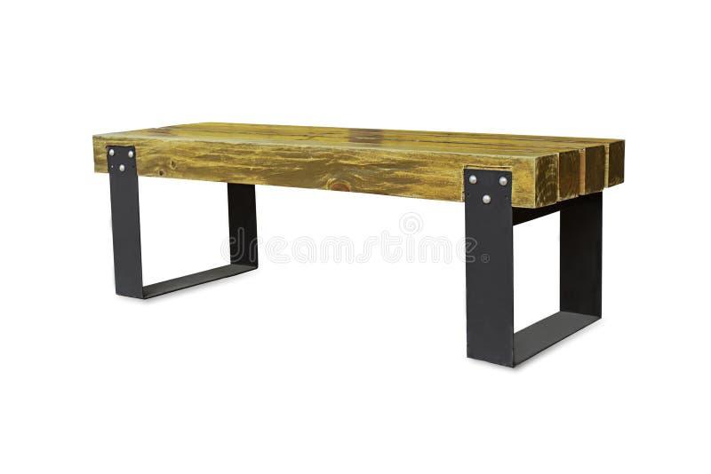 Krzesło zrobi drewno i stal na białym tle z ścinek ścieżką fotografia stock