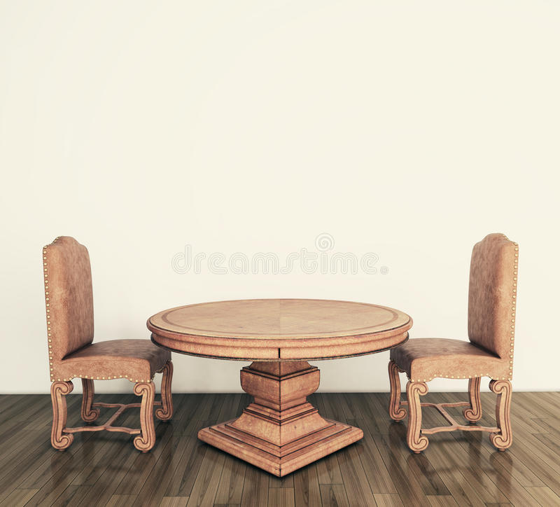 krzeseł klasyczny wnętrza stół royalty ilustracja