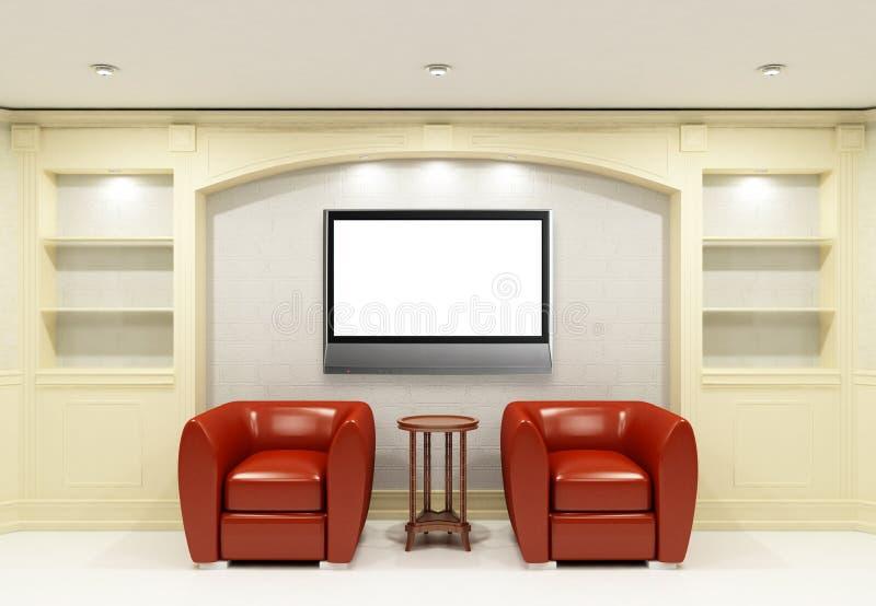 krzeseł lcd czerwieni stół tv dwa ilustracji