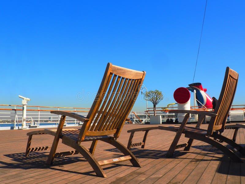 krzeseł pokładu holu statek obraz stock