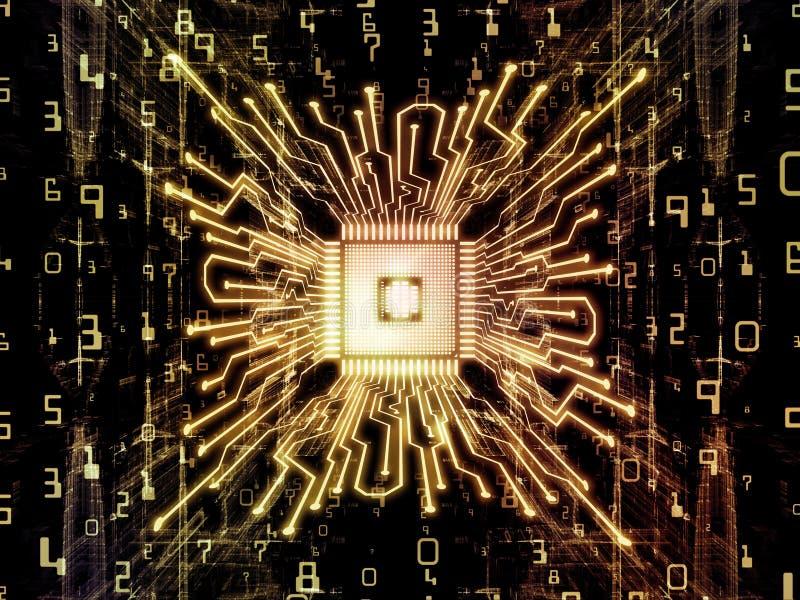 Krzewienie Komputerowa jednostka centralna royalty ilustracja