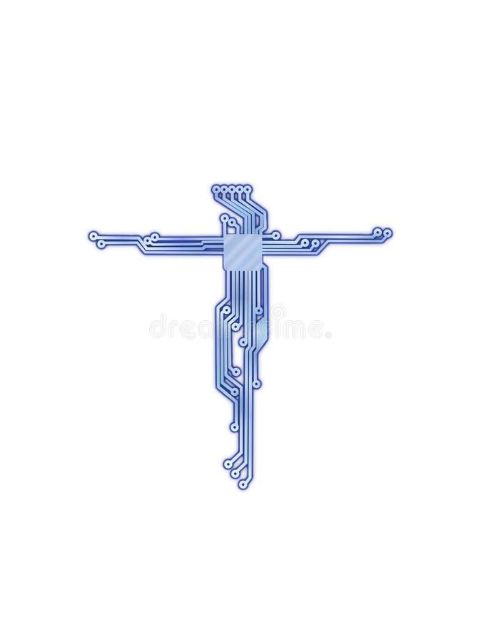 Krzyż jezus chrystus w stylu obwodu elektrycznego diagrama royalty ilustracja