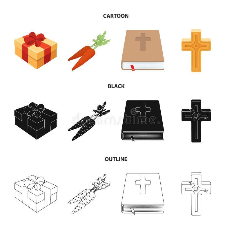 Krzyż, biblia, prezent i marchewki, Wielkanocy ustalone inkasowe ikony w kreskówce, czerń, konturu symbolu stylowy wektorowy zapa ilustracji