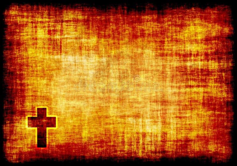 krzyż grawerujący święty pergamin royalty ilustracja