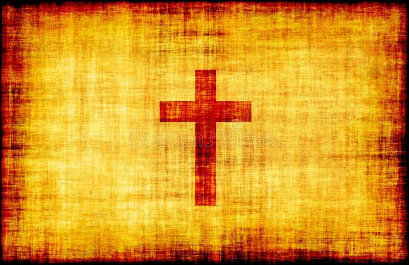 krzyż grawerujący święty pergamin ilustracji