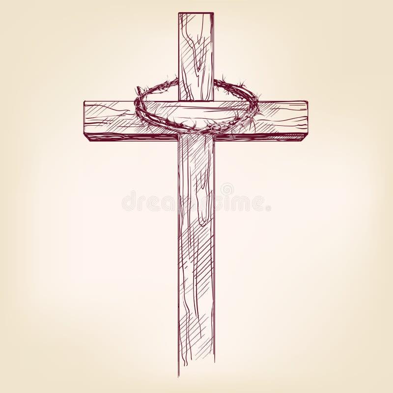 Krzyż i korona ciernie, symbol chrystianizmu ręka rysujący wektorowy llustration royalty ilustracja