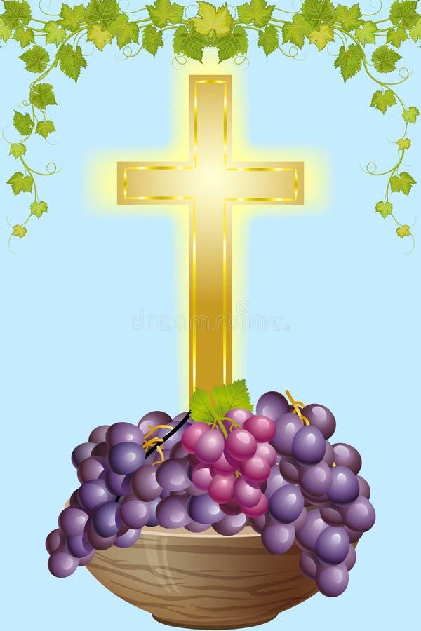 Krzyż 4 i winogrono ilustracja wektor