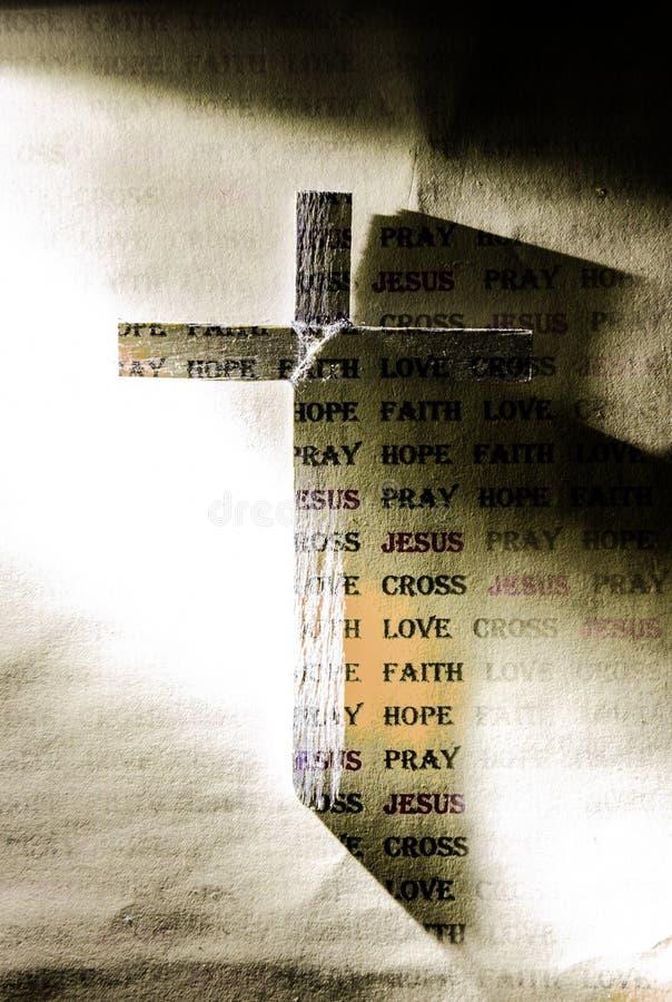 Krzyż Jezus i słowo fotografia royalty free