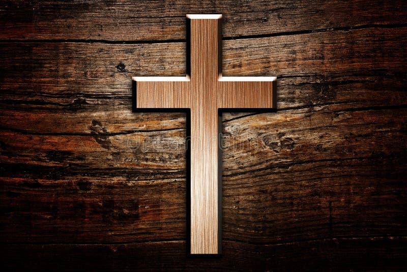 Krzyż na drewnie zdjęcie royalty free