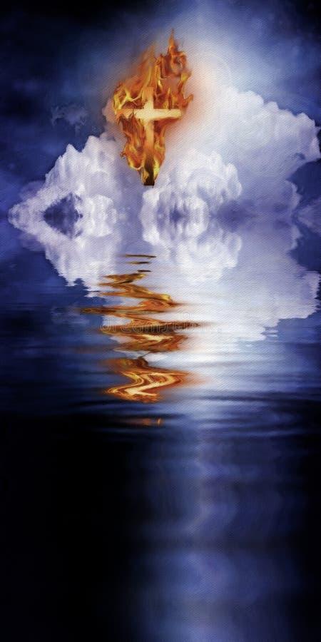 Krzyż ogień ilustracja wektor