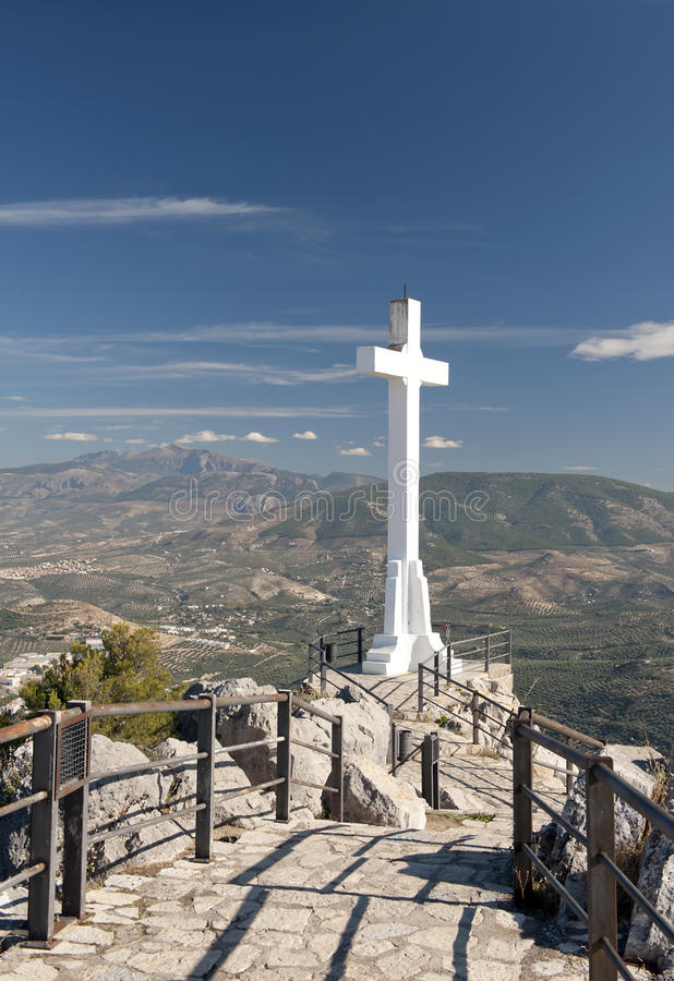 Krzyż przy Santa Kasztelem Catalina zdjęcia royalty free