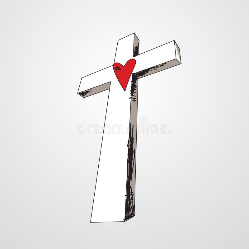 krzyż rysujący ręki serce ilustracji