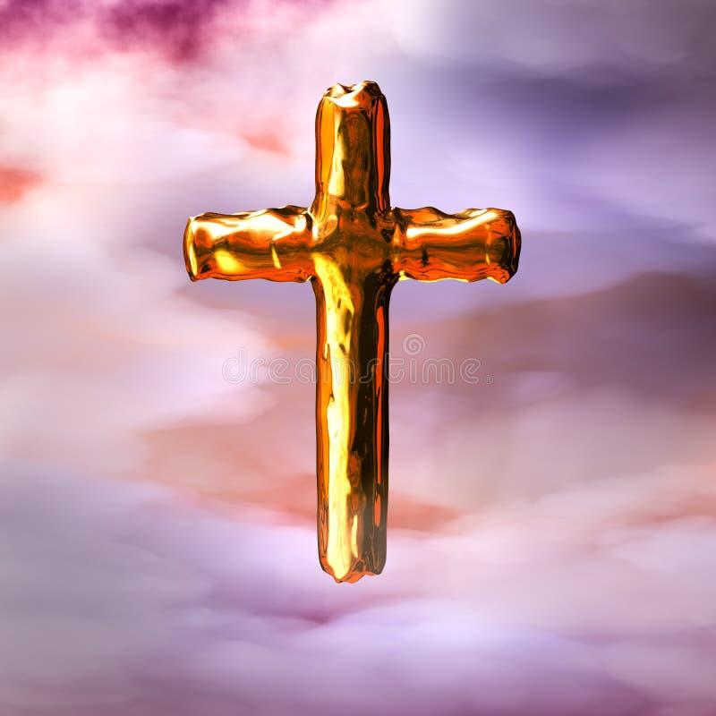 Krzyż w chmurach ilustracja wektor