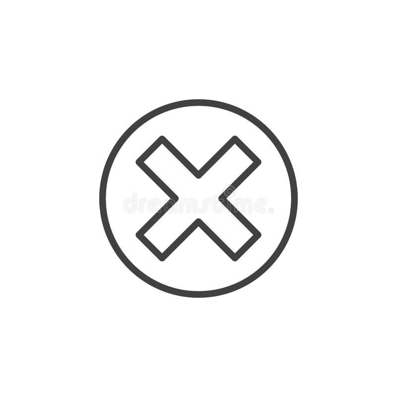 Krzyż w okrąg linii ikonie, konturu wektoru znak ilustracji