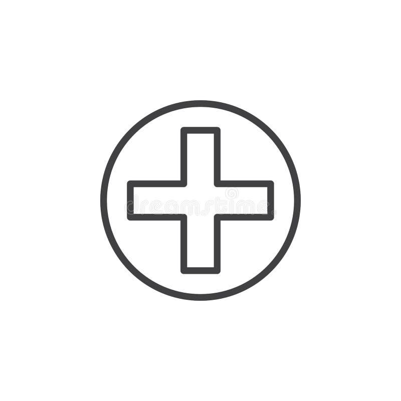 Krzyż w okrąg linii ikonie, konturu wektoru znak, liniowy stylowy piktogram odizolowywający na bielu ilustracja wektor