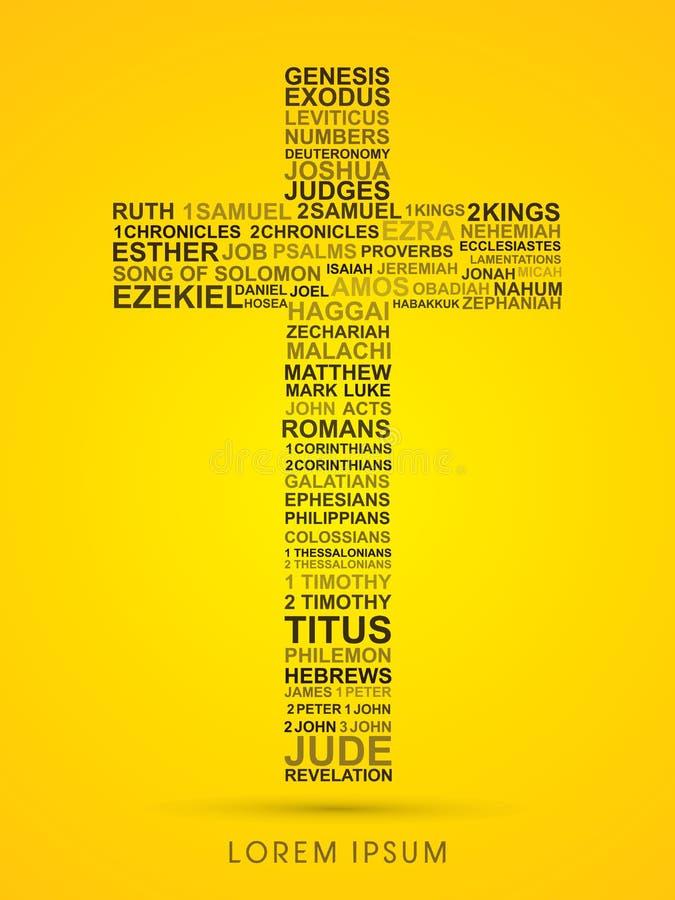 Krzyż z biblią formułuje genezę objawienie ilustracja wektor