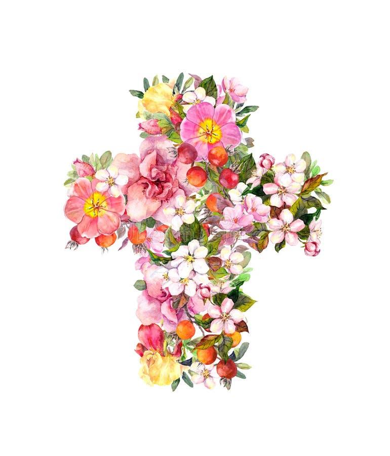 Krzyż z kwiatami Akwarela dla Wielkanocnego projekta ilustracja wektor