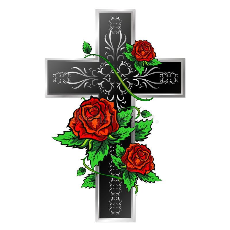 Krzyż z ornamentem i różami ilustracji