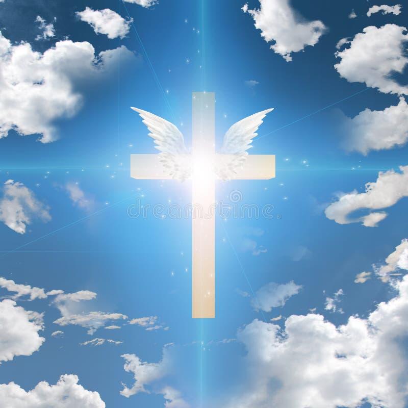 Krzyż z skrzydłami ilustracja wektor