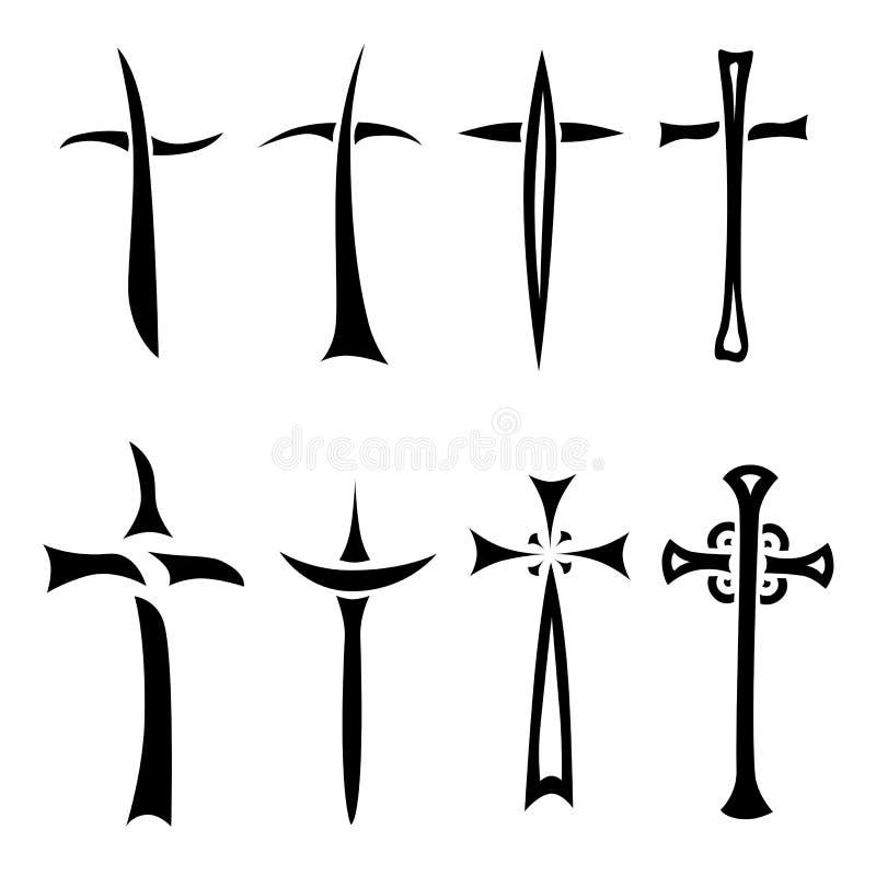 Krzyża set ilustracji