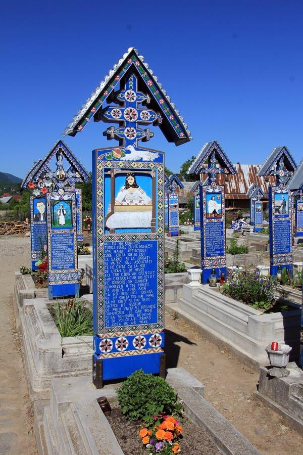 Krzyża Wesoło cmentarz w Sapanta, Rumunia zdjęcie royalty free