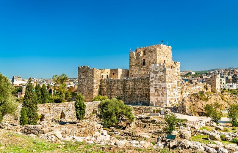 Krzyżowa kasztel w Byblos, Liban zdjęcie stock
