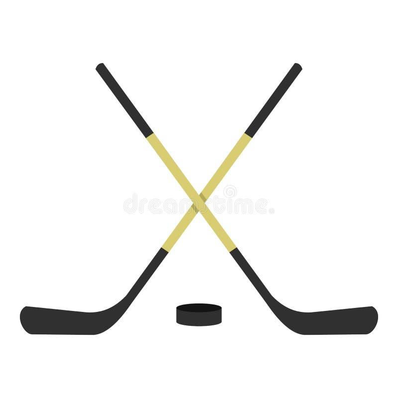 Krzyżująca hokejowych kijów ikona odizolowywająca ilustracji