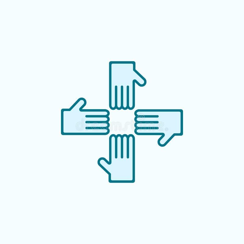 krzyżująca ręk 2 barwiąca kreskowa ikona Prosta barwiona element ilustracja krzyżujący ręka konturu symbolu projekt od przyjaźni  royalty ilustracja