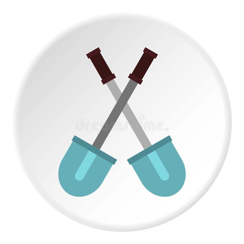 Krzyżujący łopaty ikony okrąg ilustracja wektor