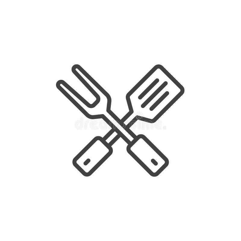 Krzy?uj?cy BBQ rozwidlenie i szpachelki kreskowa ikona royalty ilustracja